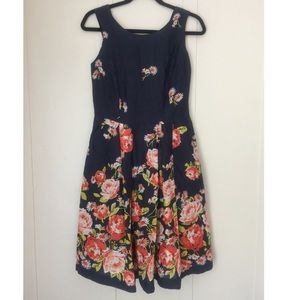 Land's End Fit And Flare Floral Dress Size 4P